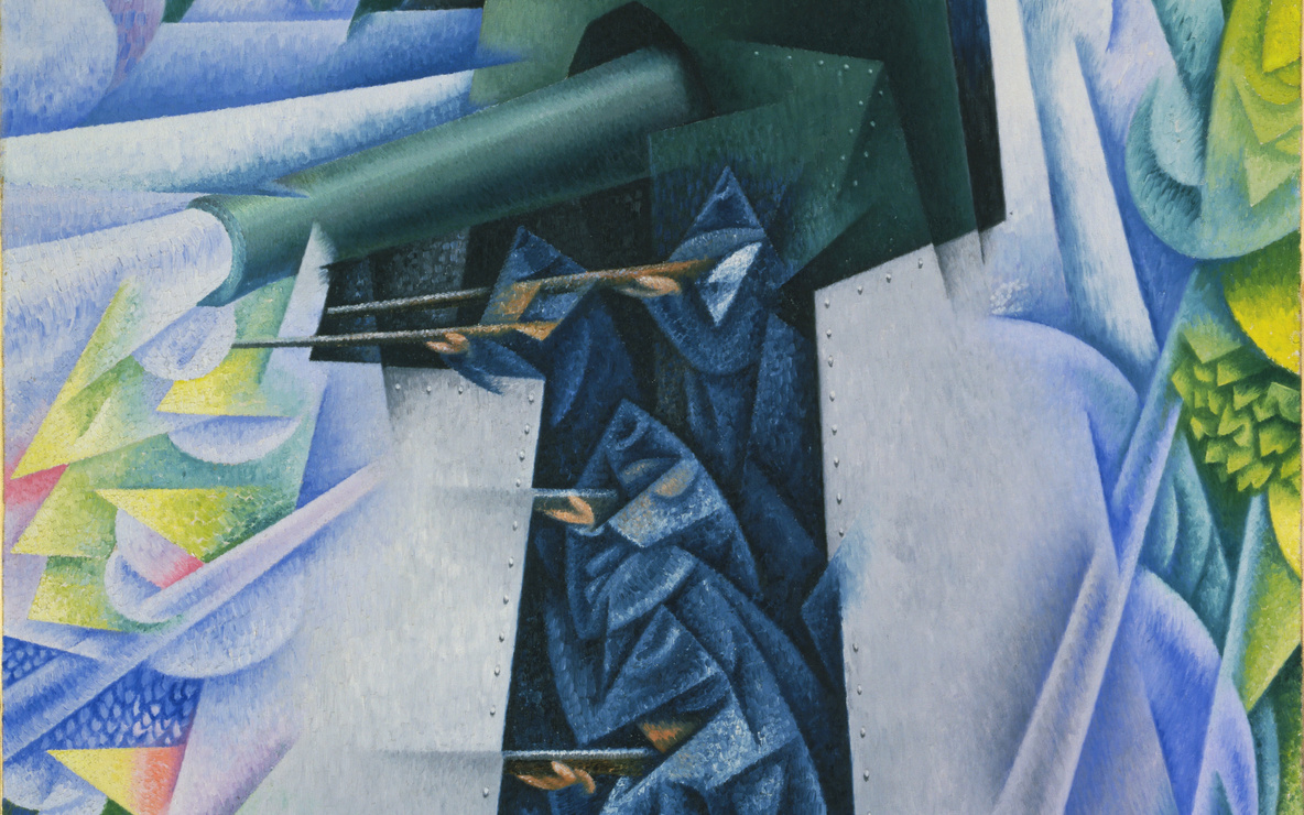 Gino Severini (Italian, 1883–1966). *Armored Train in Action.* 1915. Oil on canvas, 45 5/8 × 34 7/8″ (115.8 × 88.5 cm). Gift of Richard S. Zeisler. © 2017 Gino Severini/Artists Rights Society (ARS), New York/ADAGP, Paris