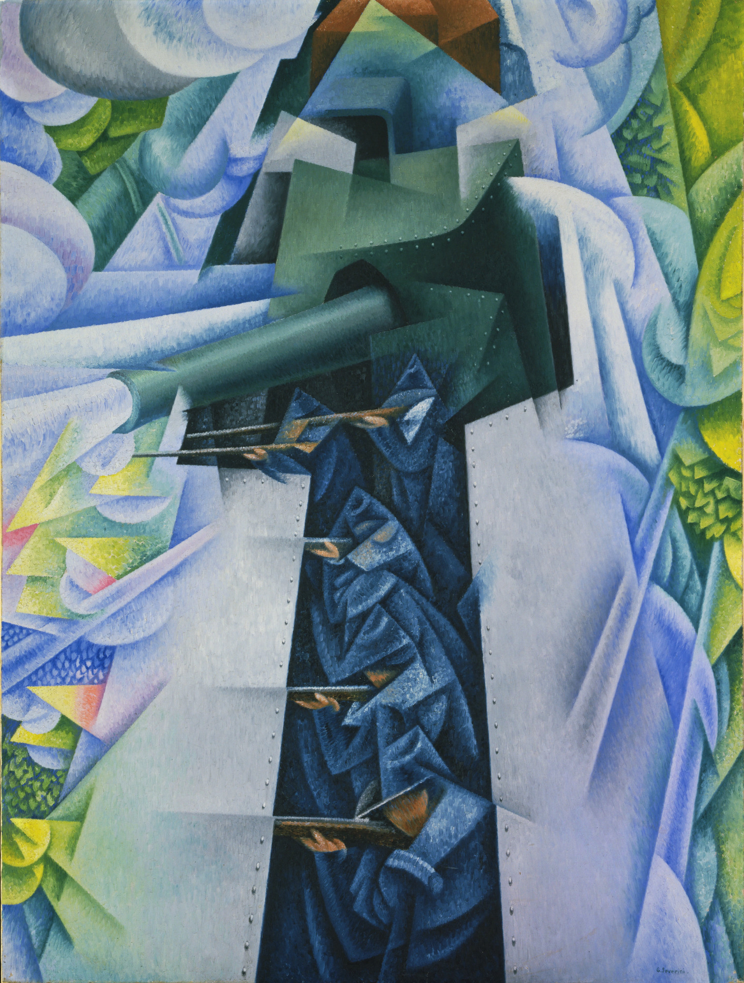 Gino Severini (Italian, 1883–1966). Armored Train in Action. 1915. Oil on canvas, 45 5⁄8 × 34 7/8″ (115.8 × 88.5 cm). Gift of Richard S. Zeisler. © 2017 Gino Severini/Artists Rights Society (ARS), New York/ADAGP, Paris