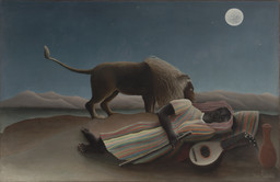 Henri Rousseau. The Sleeping Gypsy. 1897. Oil on canvas, 51″ × 6′ 7″ (129.5 × 200.7 cm). Gift of Mrs. Simon Guggenheim. Photo: Thomas Griesel