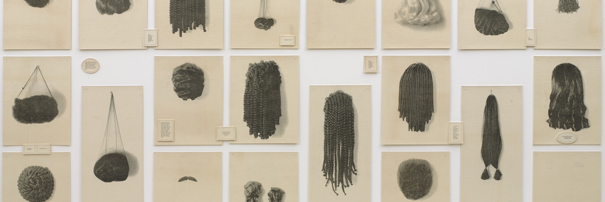 Lorna Simpson. <em>Wigs (Portfolio).</em> 1994. Portfolio of 21 lithographs on felt, with 17 lithographed felt text panels, overall: 6′ × 13′ 6″ (182.9 × 411.5 cm). Purchased with funds given by Agnes Gund, Howard B. Johnson, and Emily Fisher Landau. © 2017 Lorna Simpson. Photo: John Wronn
