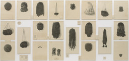 Lorna Simpson. *Wigs (Portfolio).* 1994. Portfolio of 21 lithographs on felt, with 17 lithographed felt text panels, overall: 6′ × 13′ 6″ (182.9 × 411.5 cm). Purchased with funds given by Agnes Gund, Howard B. Johnson, and Emily Fisher Landau. © 2017 Lorna Simpson. Photo: John Wronn
