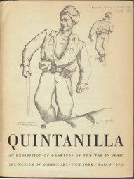 Cover of catalog Quintanilla: an exhibition of drawings of the war in Spain, the Museum of Modern Art, New York, March, 1938