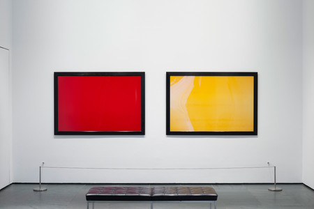 Installation view of Inbox: Andres Serrano from The Abramson Collection. Shown, from left: Andres Serrano. Blood. 1987. Chromogenic color print, 40 × 60″ (101.6 × 152.4 cm). The Abramson Collection. Gift of Stephen and Sandra Abramson. © 2017 Andres Serrano; Andres Serrano. Piss. 1987. Chromogenic color print, 40 × 60″ (101.6 × 152.4 cm). The Abramson Collection. Gift of Stephen and Sandra Abramson. © 2017 Andres Serrano. Photo: Jonathan Muzikar