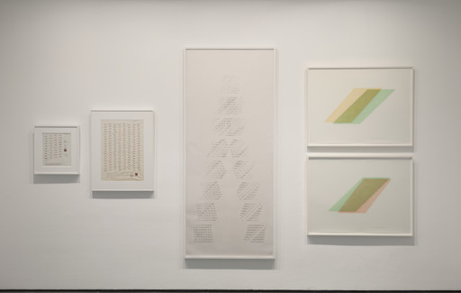 Channa Horwitz. From left: *Sonakinatography I Movement #III for Multi-media.* 1969. Casein and ink on graph paper. The Modern Women's Fund, 2016; *Sonakinatography Movement #II Sheet B 1st Variation.* 1969. Casein and pencil on graph paper. The Modern Women's Fund, 2016;  *Slices, Top to Bottom*. 1975. Ink on Mylar. Gifts of the artist's estate, 2016. *Rhythm of Lines 8–7.* 1988. Casein and 23-karat gold leaf on Mylar. Gifts of the artist's estate, 2016. *Rhythm of Lines 6–8.* 1988. Casein and 23-karat gold leaf on Mylar. Gifts of the artist's estate, 2016. Digital image © 2016 The Museum of Modern Art