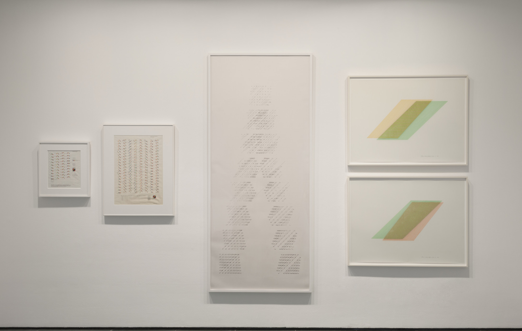 Channa Horwitz. From left: Sonakinatography I Movement #III for Multi-media. 1969. Casein and ink on graph paper. The Modern Women's Fund, 2016; Sonakinatography Movement #II Sheet B 1st Variation. 1969. Casein and pencil on graph paper. The Modern Women's Fund, 2016; Slices, Top to Bottom. 1975. Ink on Mylar. Gifts of the artist's estate, 2016. Rhythm of Lines 8–7. 1988. Casein and 23-karat gold leaf on Mylar. Gifts of the artist's estate, 2016. Rhythm of Lines 6–8. 1988. Casein and 23-karat gold leaf on Mylar. Gifts of the artist's estate, 2016. Digital image © 2016 The Museum of Modern Art