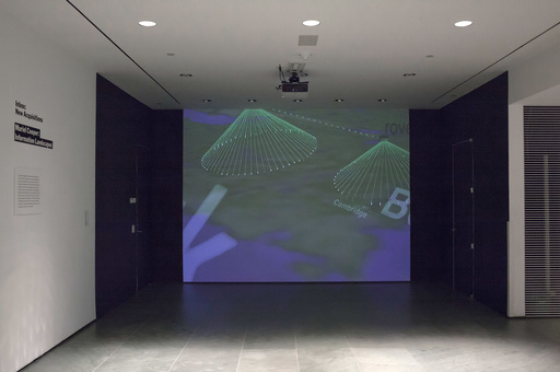 Muriel Cooper, David Small, Suguru Ishizaki, Earl Rennison, Robert Silvers, Lisa Strausfeld, Jeffrey Ventrella, Yin Yin Wong. Information Landscapes. 1994. Multimedia video and software with audio. Installation view, The Museum of Modern Art, May 13–June 12, 2016. Gift of Lisa Strausfeld and David Small. Photo: John Wronn