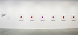 Installation view of *Inbox: Christopher Wool.* Shown: Christopher Wool (American, born 1955). *Portraits (red).* 2014. Portfolio of six lithographs, composition (each): 19 × 14 1/2″ (48.2 × 36.8 cm); sheet (each): 27 × 22 1/2″ (68.6 × 57.2 cm). Publisher: Universal Limited Art Editions, Bay Shore, NY. Printer: Universal Limited Art Editions, Bay Shore, NY. Edition: 28. Acquired through the generosity of Mary M. and Sash A. Spencer. © 2015 Christopher Wool. Photo: John Wronn
