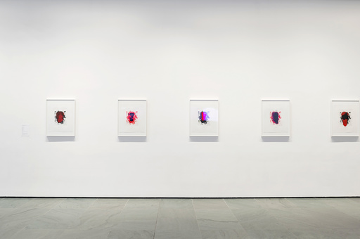 Installation view of Inbox: Christopher Wool. Shown: Christopher Wool (American, born 1955). Portraits (red). 2014. Portfolio of six lithographs, composition (each): 19 × 14 1/2″ (48.2 × 36.8 cm); sheet (each): 27 × 22 1/2″ (68.6 × 57.2 cm). Publisher: Universal Limited Art Editions, Bay Shore, NY. Printer: Universal Limited Art Editions, Bay Shore, NY. Edition: 28. Acquired through the generosity of Mary M. and Sash A. Spencer. © 2015 Christopher Wool. Photo: John Wronn