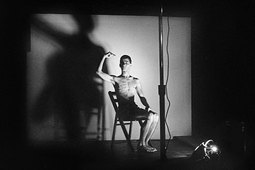 Acts of Live Art at Club 57. Pictured: Larry Ashton. 1980. Photo: Joesph Szkodzinski. Courtesy Joesph Szkodzinski