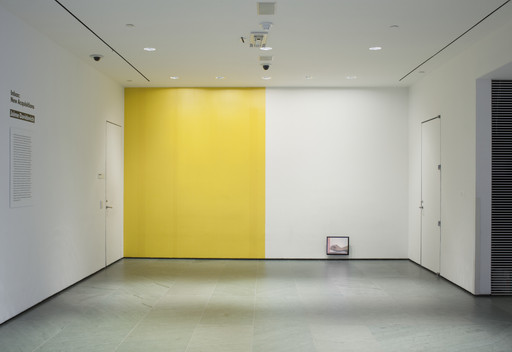 Installation view of *Inbox: Jaime Davidovich* at The Museum of Modern Art, New York. Shown: Jaime Davidovich. *Tape Wall Project.* 1970. Video (color, silent; 5 min.) and adhesive tape. Latin American and Caribbean Fund. © 2017 Estate of Jaime Davidovich. Photo: John Wronn