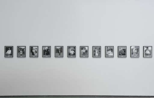 Installation view, of *Inbox: Hans-Peter Feldmann's* 100 Years, The Museum of Modern Art, New York, February 11–March 12, 2017. Shown: Hans-Peter Feldmann. *100 Years*. 2001. 101 gelatin silver prints, each 12 × 9 1/2″ (30.5 × 24.1 cm). The Photography Council Fund, and Vital Projects Fund, Robert B. Menschel, 2016. © 2017 Hans-Peter Feldmann/Artists Rights Society (ARS), New York/VG Bild-Kunst, Germany