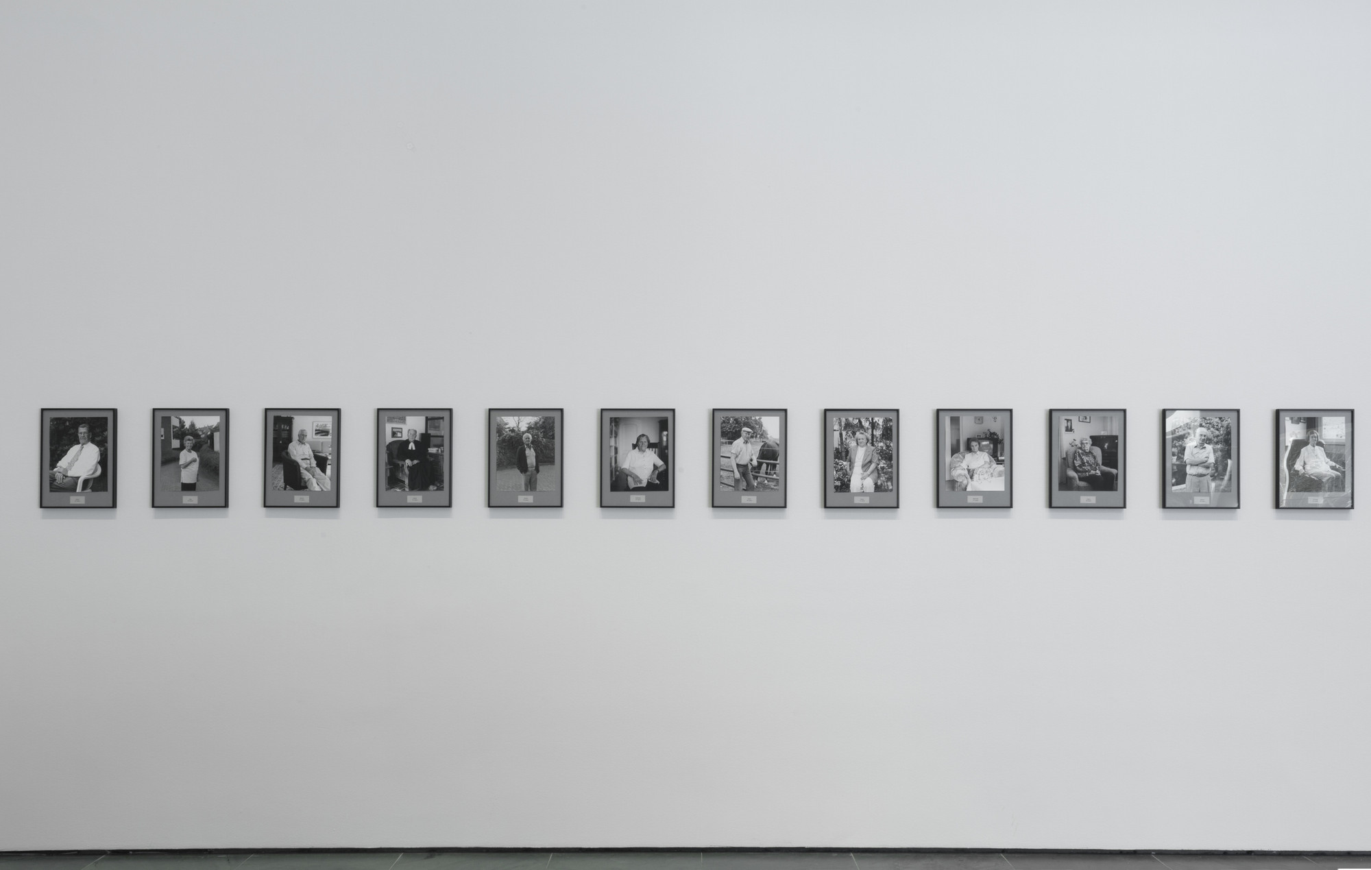 Installation view, of Inbox: Hans-Peter Feldmann's 100 Years, The Museum of Modern Art, New York, February 11–March 12, 2017. Shown: Hans-Peter Feldmann. 100 Years. 2001. 101 gelatin silver prints, each 12 × 9 1/2″ (30.5 × 24.1 cm). The Photography Council Fund, and Vital Projects Fund, Robert B. Menschel, 2016. © 2017 Hans-Peter Feldmann/Artists Rights Society (ARS), New York/VG Bild-Kunst, Germany