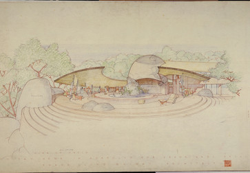 Frank Lloyd Wright. Raul Bailleres House (Acapulco, Mexico). Unbuilt project. 1952. Brown ink, pencil, and color pencil on tracing paper, 31 ¾ x 52 7/8″ (80.6 × 134.3 cm). The Frank Lloyd Wright Foundation Archives (The Museum of Modern Art | Avery Architectural & Fine Arts Library, Columbia University, New York)