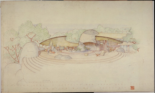 Frank Lloyd Wright. Raul Bailleres House (Acapulco, Mexico). Unbuilt project. 1952. Brown ink, pencil, and color pencil on tracing paper, 31 3⁄4 x 52 7/8″ (80.6 × 134.3 cm). The Frank Lloyd Wright Foundation Archives (The Museum of Modern Art | Avery Architectural & Fine Arts Library, Columbia University, New York)