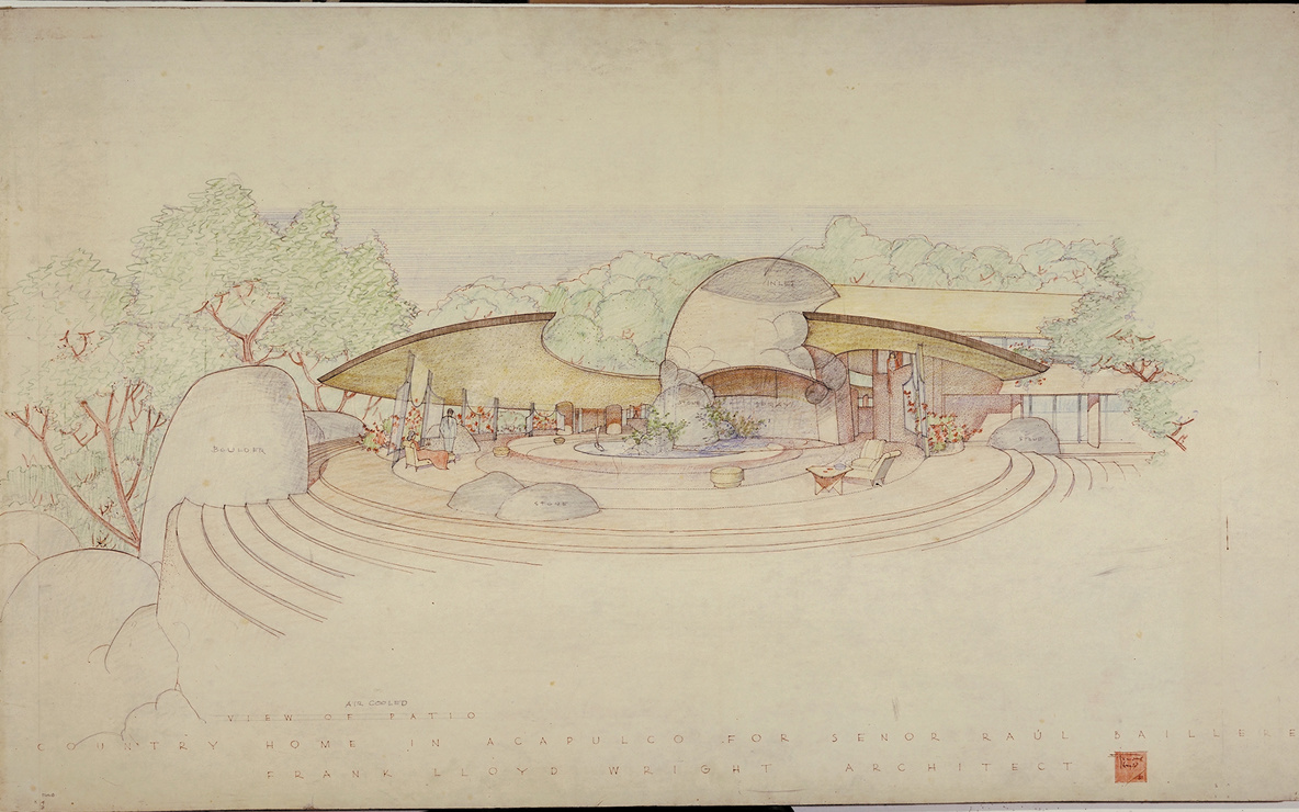 Frank Lloyd Wright. Raul Bailleres House (Acapulco, Mexico). Unbuilt project. 1952. Brown ink, pencil, and color pencil on tracing paper, 31 3/4 x 52 7/8″ (80.6 × 134.3 cm). The Frank Lloyd Wright Foundation Archives (The Museum of Modern Art | Avery Architectural & Fine Arts Library, Columbia University, New York)
