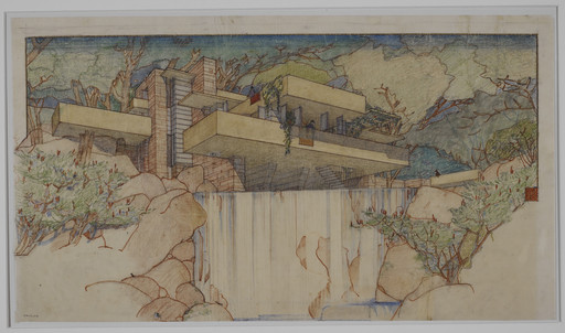 Frank Lloyd Wright. Fallingwater (Kaufmann House), Mill Run, Pennsylvania. 1934–37. Perspective from the south. Pencil and colored pencil on paper, 15 3⁄8 × 25 1/4″ (39.1 × 64.1 cm). The Frank Lloyd Wright Foundation Archives (The Museum of Modern Art | Avery Architectural & Fine Arts Library, Columbia University, New York)