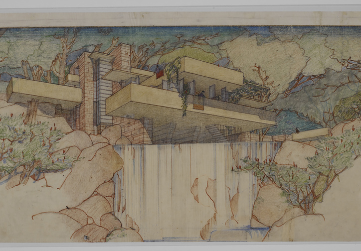 Frank Lloyd Wright. Fallingwater (Kaufmann House), Mill Run, Pennsylvania. 1934–37. Perspective from the south. Pencil and colored pencil on paper, 15 3/8 × 25 1/4″ (39.1 × 64.1 cm). The Frank Lloyd Wright Foundation Archives (The Museum of Modern Art | Avery Architectural & Fine Arts Library, Columbia University, New York)