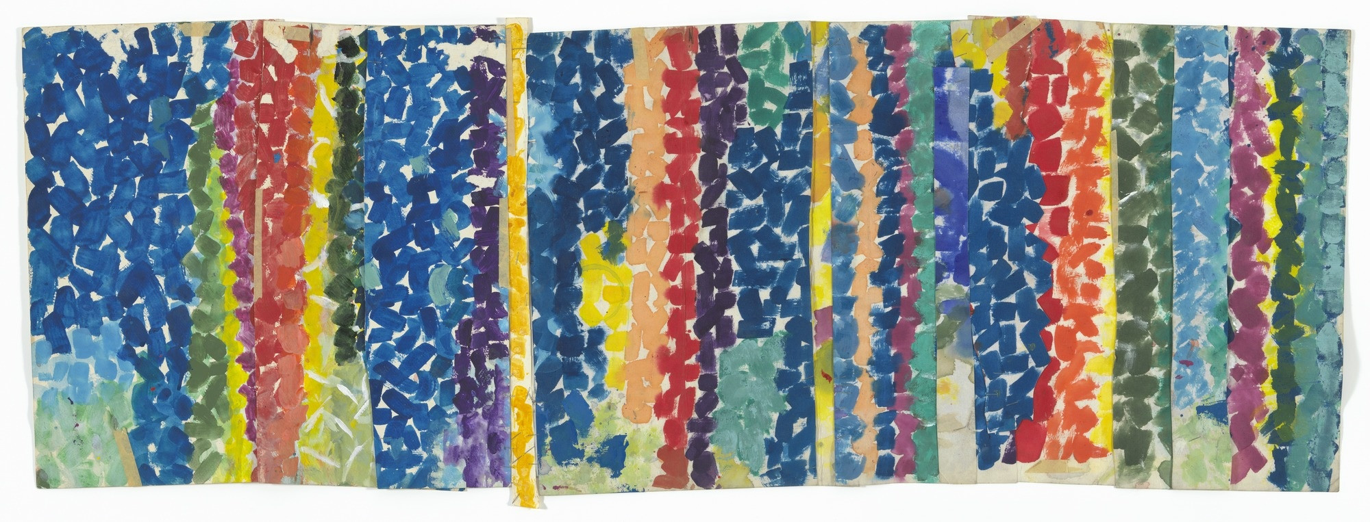 Alma Woodsey Thomas (American, 1891–1978). Untitled. c. 1968. Synthetic polymer paint and pressure-sensitive tape on cut-and-stapled paper, 19 1/8 × 51 1/2″ (48.6 × 130.8 cm). The Museum of Modern Art, New York. Gift of Donald B. Marron, 2015