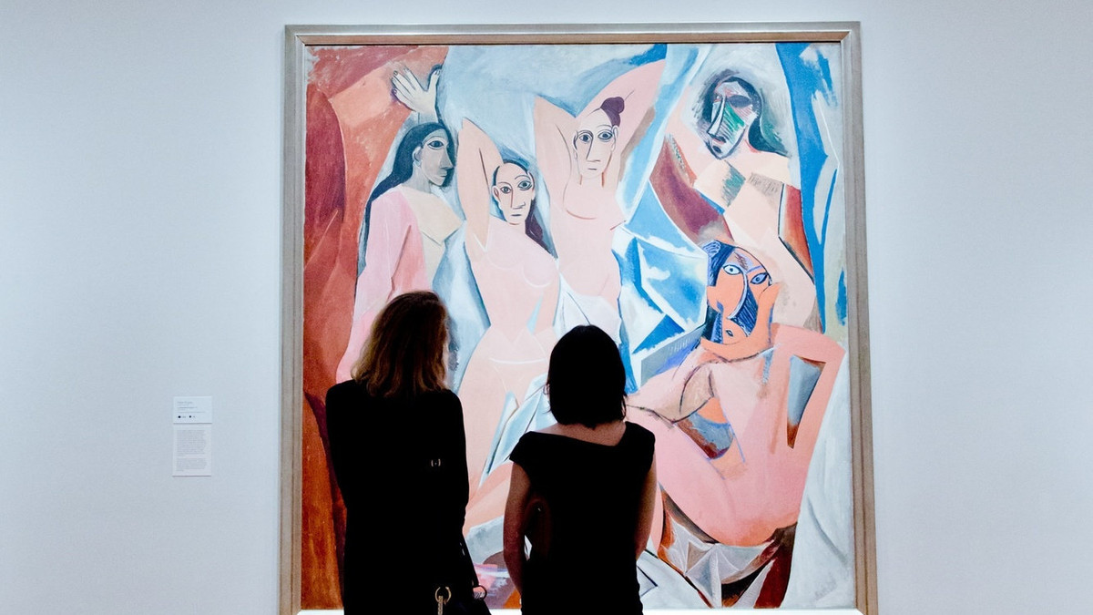 A pair of JAs in the galleries. Shown: Pablo Picasso. Les Demoiselles d'Avignon. Paris, June–July 1907. Oil on canvas, 8′ × 7′ 8″ (243.9 × 233.7 cm). Acquired through the Lillie P. Bliss Bequest. © 2017 Estate of Pablo Picasso/Artists Rights Society (ARS), New York. Photo: Carly Gaebe