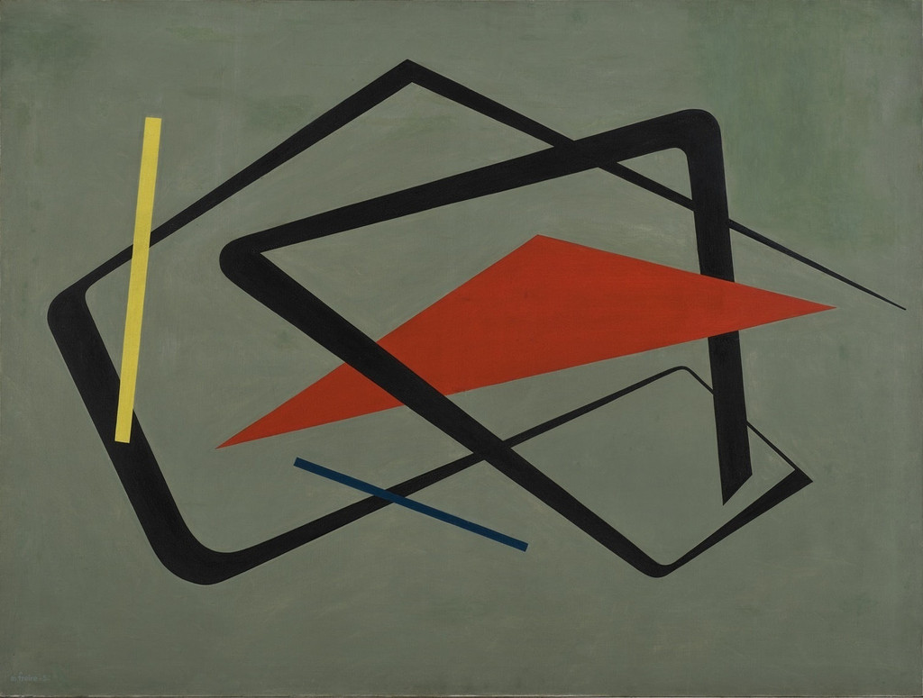 María Freire (Uruguayan, 1917–2015). *Untitled.* 1954. Oil on canvas, 36 1/4 × 48 1/16″ (92 × 122 cm). The Museum of Modern Art, New York. Promised gift of Patricia Phelps de Cisneros through the Latin American and Caribbean Fund in honor of Gabriel Pérez-Barreiro, 2016
