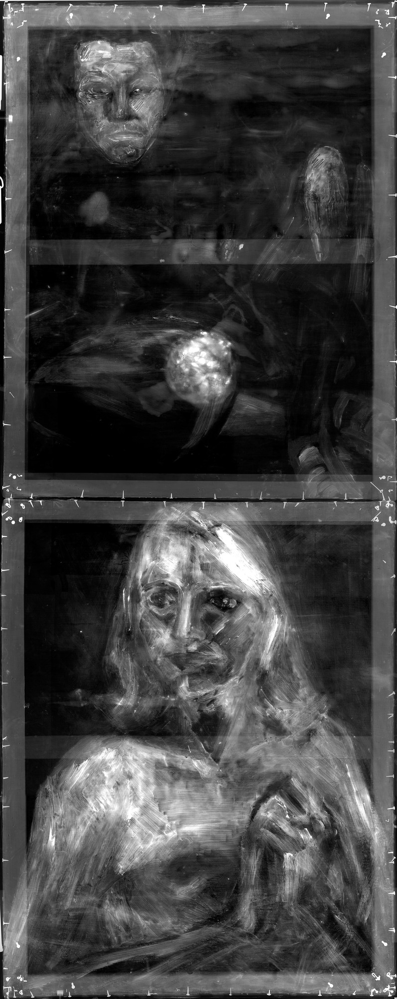 X-ray showing paintings underneath the surface of *Asheville Citizen*
