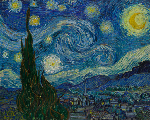 "Vincent van Gogh. *The Starry Night*. Saint Rémy, June 1889. Oil on canvas, 29 x 36 1/4"" (73.7 x 92.1 cm). Acquired through the