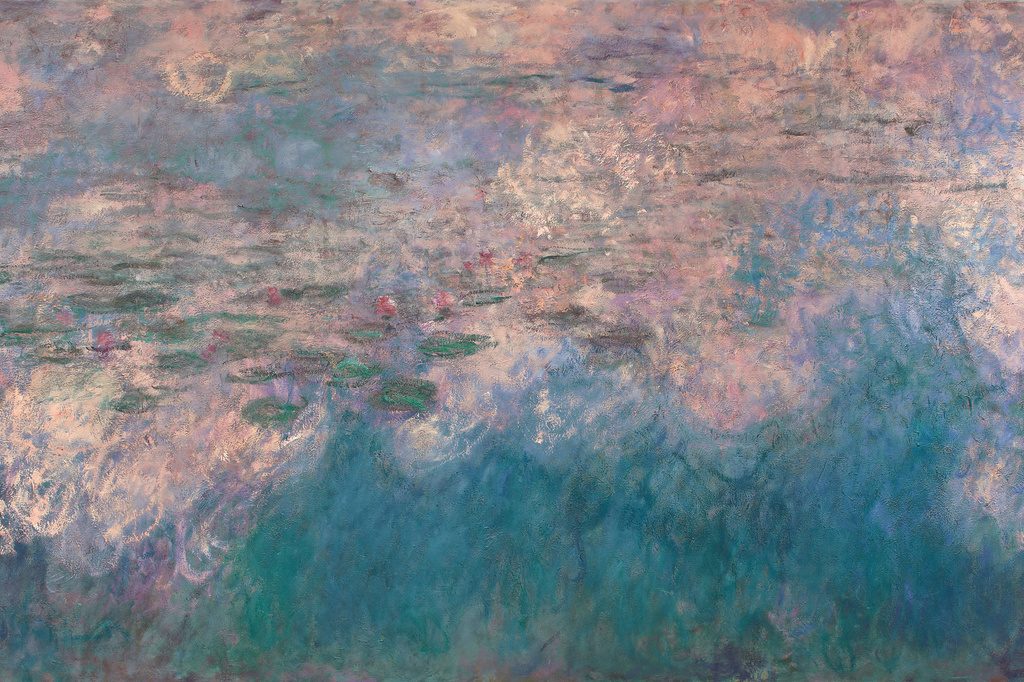 "Claude Monet. Water Lilies (detail). 1914–26. Oil on canvas, three panels, Each 6' 6 3/4"" x 13' 11 1/4"" (200 x 424.8 cm), overall 6' 6 3/4"" x 41' 10 3/8"" (200 x 1276 cm). Mrs. Simon Guggenheim Fund"