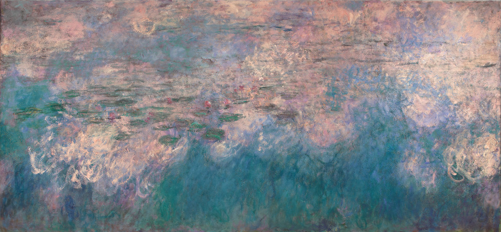 "Claude Monet. *Water Lilies* (detail). 1914–26. Oil on canvas, three panels, Each 6' 6 3/4"" x 13' 11 1/4"" (200 x 424.8 cm), overall 6' 6 3/4"" x 41' 10 3/8"" (200 x 1276 cm). Mrs. Simon Guggenheim Fund"