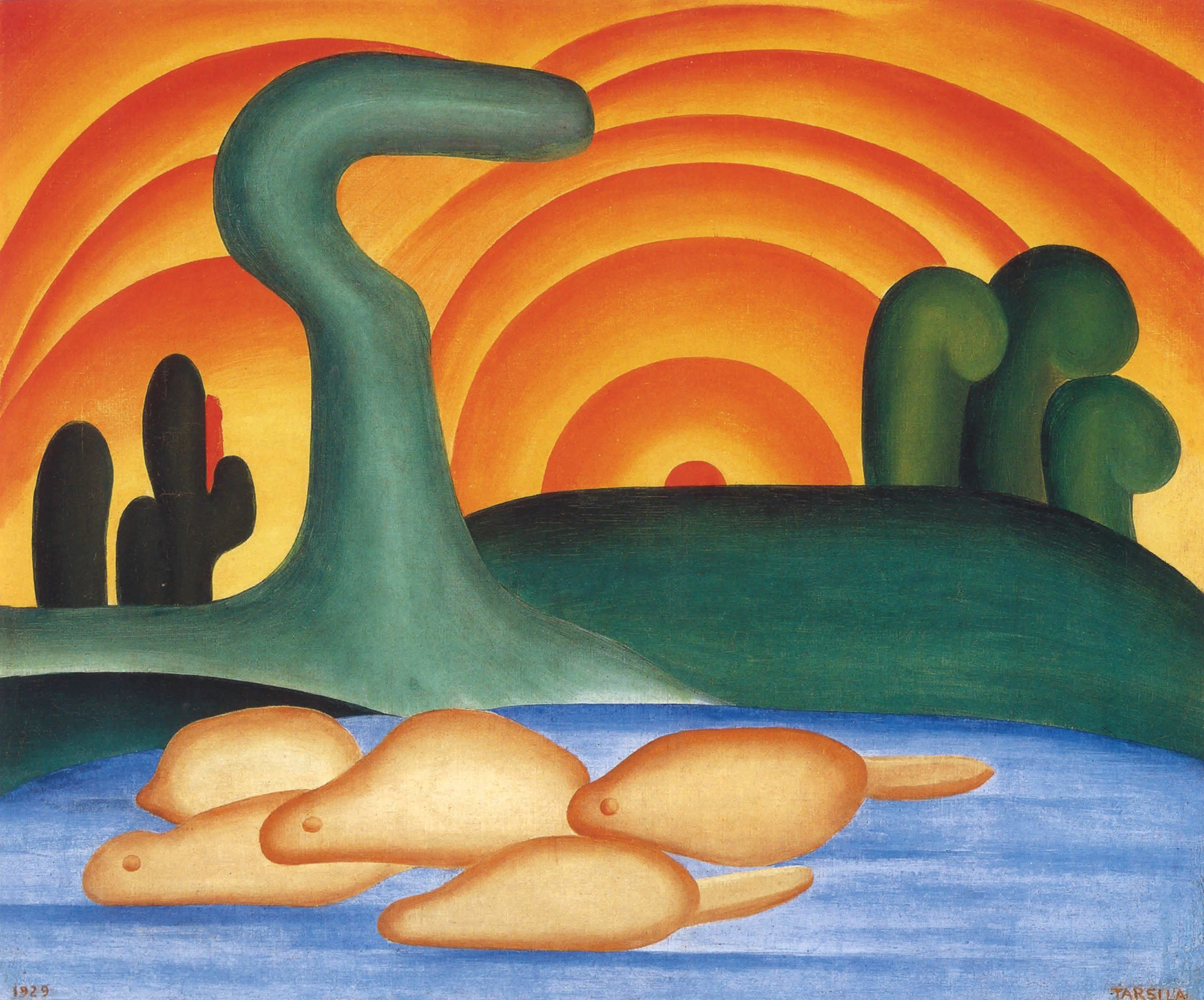 "Tarsila do Amaral. Setting Sun. 1929. Oil on canvas, 21 1/4 × 25 9/16"" (54 × 65 cm). Private collection, Rio de Janeiro. © Tarsila do Amaral Licenciamentos"