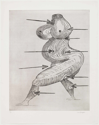 "Louise Bourgeois. Sainte Sébastienne. 1992. Drypoint, sheet: 47 7⁄16 x 37 1⁄8"" (120.5 x 94.3 cm). The Museum of Modern Art, New York. Gift of the artist. © 2017 The Easton Foundation/Licensed by VAGA, NY"
