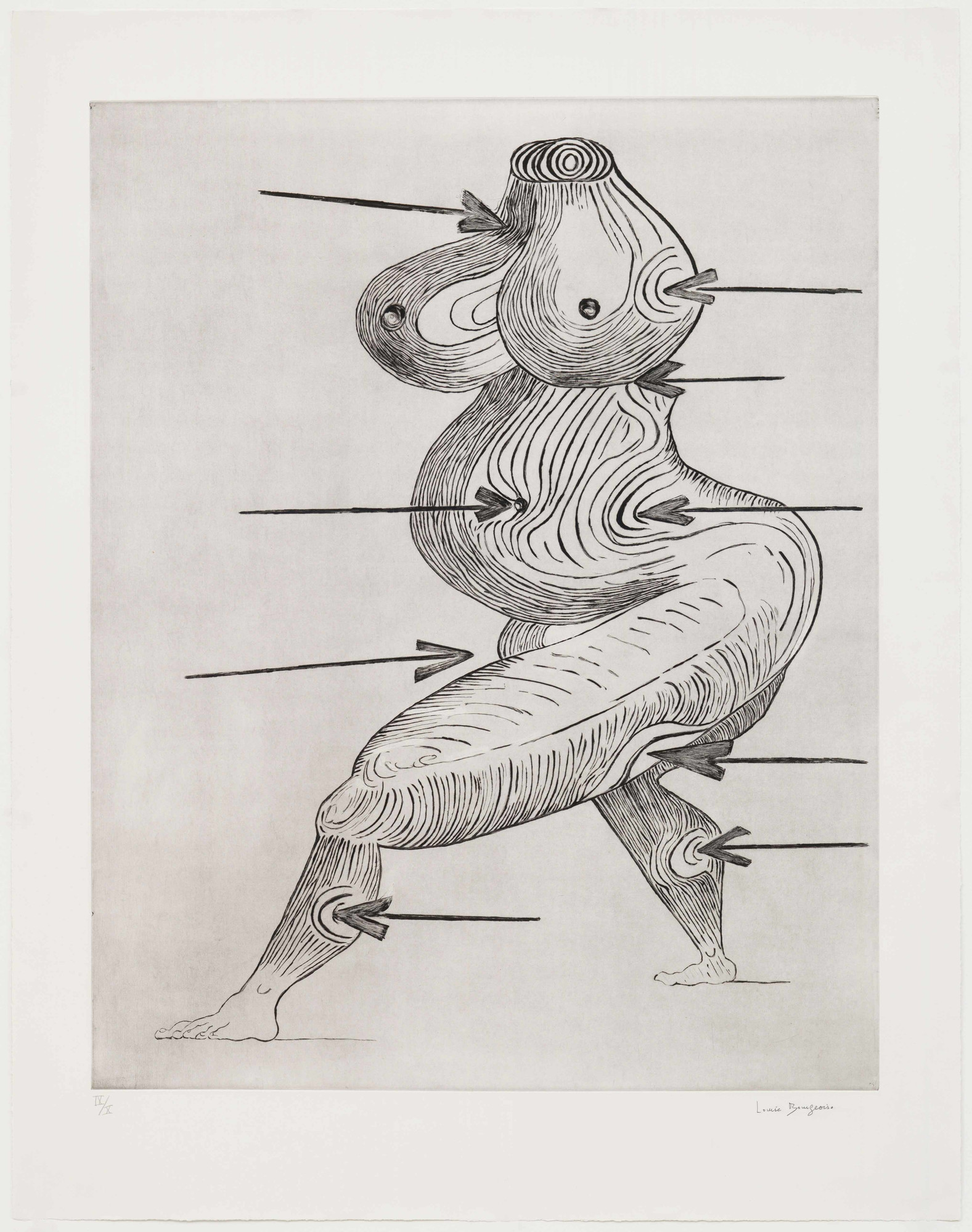 "Louise Bourgeois. Sainte Sébastienne. 1992. Drypoint, sheet: 47 7/16 x 37 1/8"" (120.5 x 94.3 cm). The Museum of Modern Art, New York. Gift of the artist. © 2017 The Easton Foundation/Licensed by VAGA, NY"