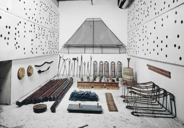 Terry Adkins. Assembly. 1994/97. Arrangement of materials retrieved from 68 Jay Street. Installation view, The William Benton Museum of Art, University of Connecticut, Storrs. Courtesy the Estate of Terry Adkins. Photo: Peter Bellamy. © Estate of Terry Adkins