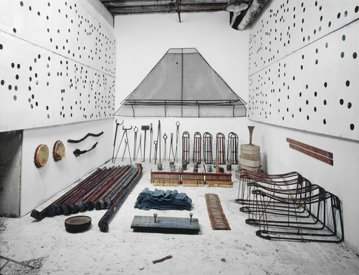 Terry Adkins. Assembly. 1994⁄97. Arrangement of materials retrieved from 68 Jay Street. Installation view, The William Benton Museum of Art, University of Connecticut, Storrs. Courtesy the Estate of Terry Adkins. Photo: Peter Bellamy. © Estate of Terry Adkins