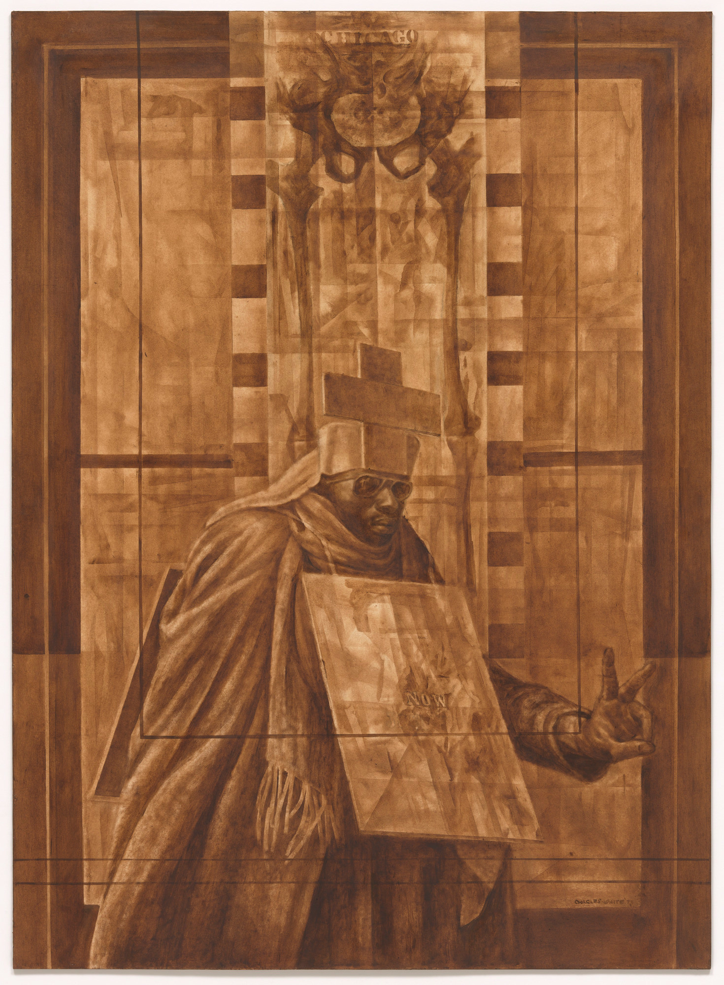 "Charles White. Black Pope (Sandwich Board Man). 1973. Oil wash on board, 60 × 43 7/8"" (152.4 × 111.4 cm). Richard S. Zeisler Bequest (by exchange), The Friends of Education of The Museum of Modern Art, Committee on Drawings Fund, Dian Woodner, and Agnes Gund. © 2017 The Charles White Archives"