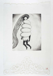 Spiral Woman, 2002. Drypoint and engraving, with selective wiping, on fabric. Collection Harlan & Weaver, Inc., New York. © 2017 The Easton Foundation/Licensed by VAGA, NY. LN2017.758
