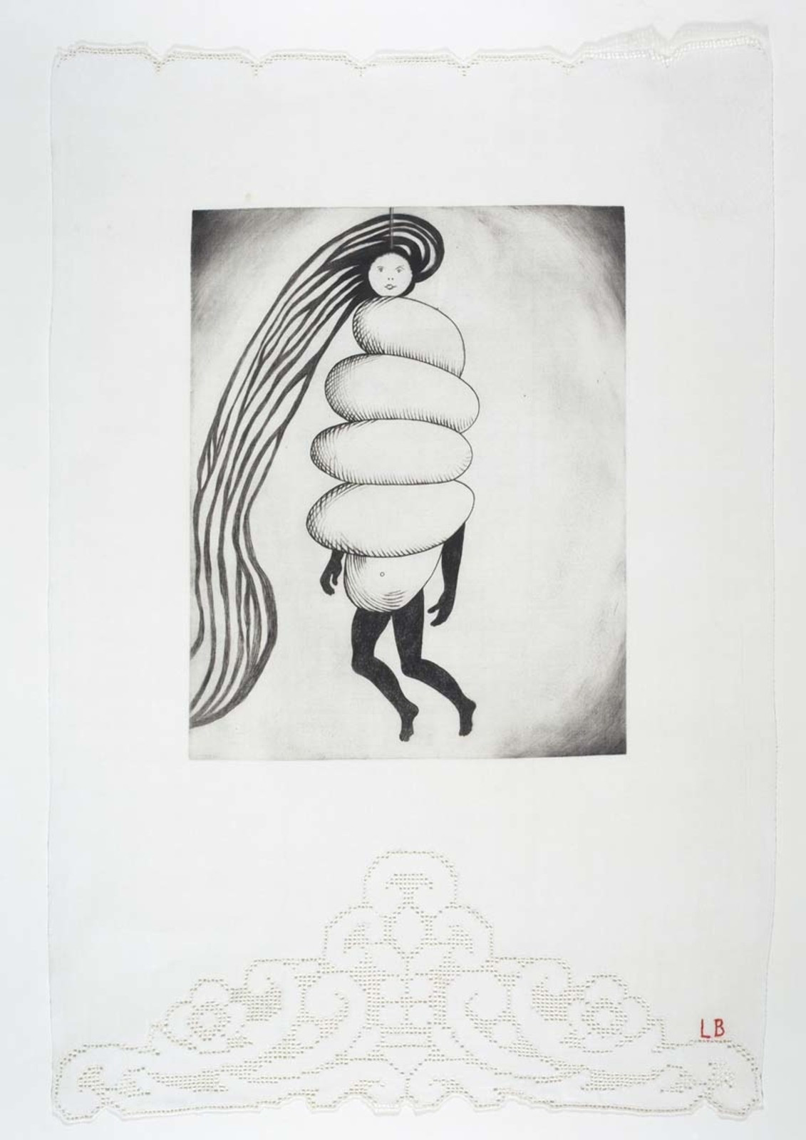 _Spiral Woman,_ 2002. Drypoint and engraving, with selective wiping, on fabric. Collection Harlan & Weaver, Inc., New York. © 2017 The Easton Foundation/Licensed by VAGA, NY. LN2017.758