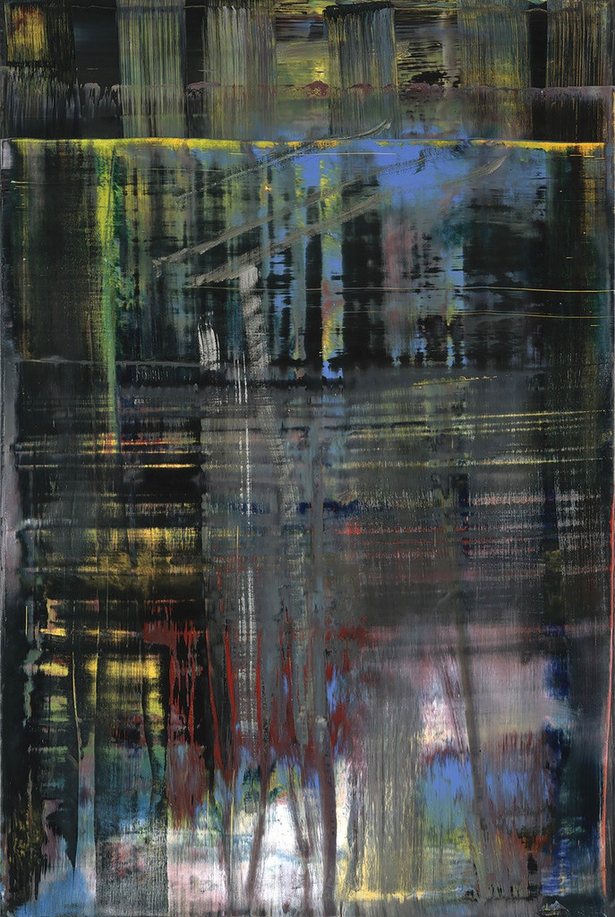 Gerhard Richter. *Woods (5)*. 2005. Oil on canvas, 77 5/8 x 52″ (197.2 x 132.1 cm). The Museum of Modern Art, NY. Gift of Warren and Mitzi Eisenberg and Leonard and Susan Feinstein. Copyright © 2017 Gerhard Richter
