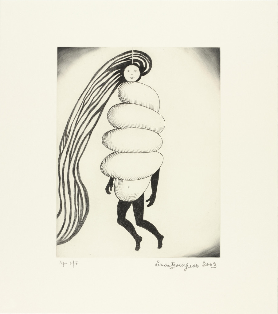 Louise Bourgeois. *Spiral Woman*. 2003. Drypoint and engraving, sheet: 17 x 15″ (43.2 x 38.1 cm). The Museum of Modern Art, New York. Gift of the artist. © 2017 The Easton Foundation/Licensed by VAGA, NY