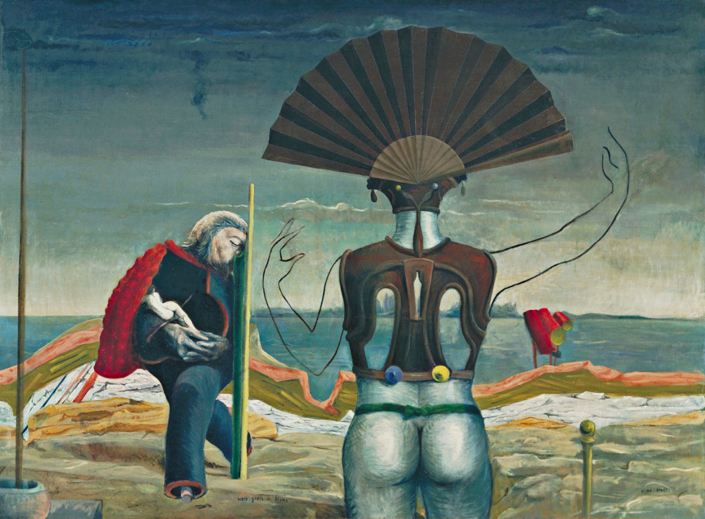 Max Ernst. Woman, *Old Man, and Flower (Weib, Greis und Blume)*. Paris 1923, Eaubonne 1924. Oil on canvas, 38 x 51 1/4″ (96.5 x 130.2 cm). The Museum of Modern Art, New York. Purchase, 1937. Photo: Kate Keller. © 2017 Artists Rights Society (ARS), New York/ADAGP, Paris