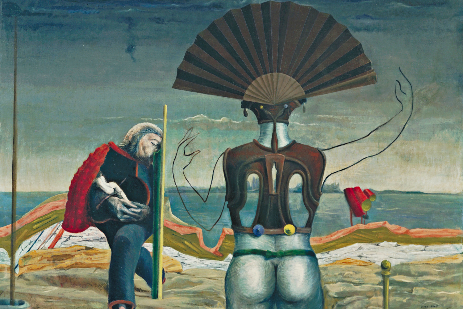 Max Ernst. Woman, Old Man, and Flower (Weib, Greis und Blume). Paris 1923, Eaubonne 1924. Oil on canvas, 38 x 51 1/4″ (96.5 x 130.2 cm). The Museum of Modern Art, New York. Purchase, 1937. Photo: Kate Keller. © 2017 Artists Rights Society (ARS), New York/ADAGP, Paris