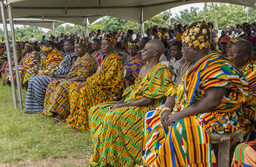 Chiefs of the Agotime Traditional Area during the Agotime Kente Festival wearing silk, cotton or rayon Kente cloth, Kpetoe, Volta Region, Ghana. Photographed by Philippe J. Kradolfer. Courtesy Philippe J. Kradolfer (Nene Dunenyo I)