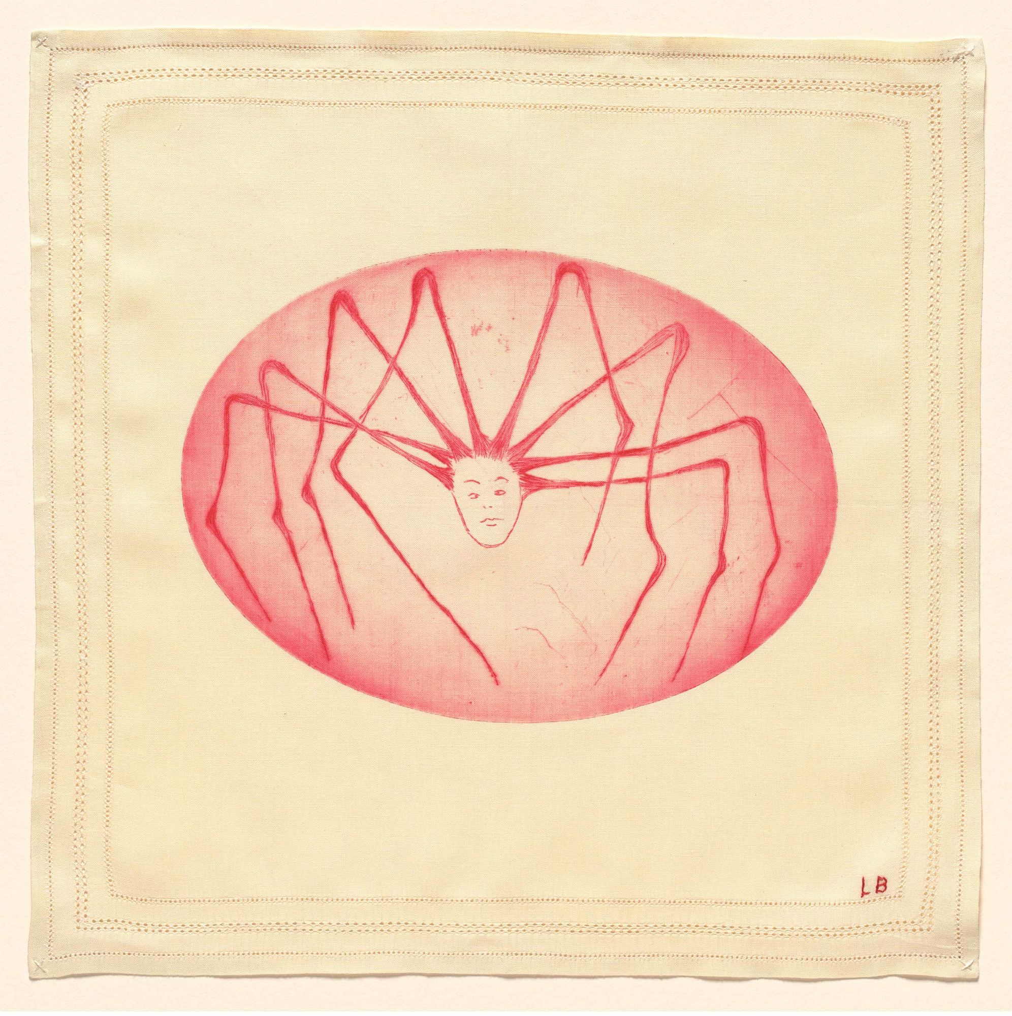 Louise Bourgeois. Spider Woman. 2004. Drypoint on fabric, sheet: 13 1/2 × 13 5/8″ (34.3 × 34.6 cm). The Museum of Modern Art, New York. Gift of The Easton Foundation. © 2017 The Easton Foundation/Licensed by VAGA, NY