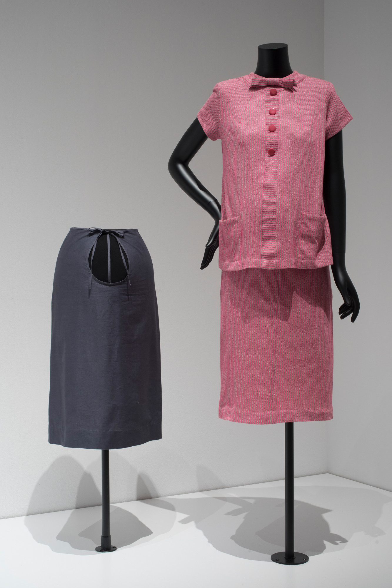 Unknown designer. Maternity top and tie-waist skirt c. 1965. Synthetic. Purchased for the exhibition. Image taken during installation of _Items: Is Fashion Modern?_  Maternity top and tie-waist skirt c. 1965. Synthetic. Purchased for the exhibition. Image taken during installation of _Items: Is Fashion Modern?_