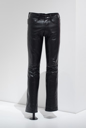 Larry Hunt (American, deceased c. 1979). Leather Pants, c. 1970s. Leather. Courtesy Leather Archives & Museum, Chicago. Image taken during installation of Items: Is Fashion Modern?