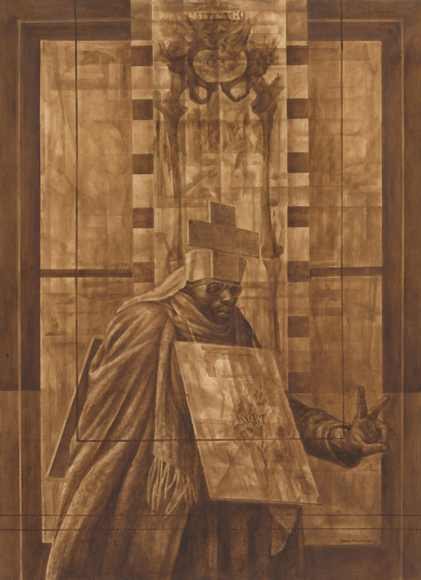 Charles White (American, 1918-1979). Black Pope (Sandwich Board Man), 1973. Oil wash on board. 60 × 43 7⁄8 in. (152.4 × 111.4 cm). The Museum of Modern Art, New York. Richard S. Zeisler Bequest (by exchange), The Friends of Education of The Museum of Modern Art, Committee on Drawings Fund, Dian Woodner, and Agnes Gund. © 2017 The Charles White Archives