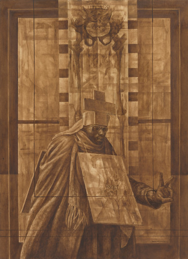 Charles White (American, 1918-1979). _Black Pope (Sandwich Board Man),_ 1973. Oil wash on board. 60 × 43 7/8 in. (152.4 × 111.4 cm). The Museum of Modern Art, New York. Richard S. Zeisler Bequest (by exchange), The Friends of Education of The Museum of Modern Art, Committee on Drawings Fund, Dian Woodner, and Agnes Gund. © 2017 The Charles White Archives