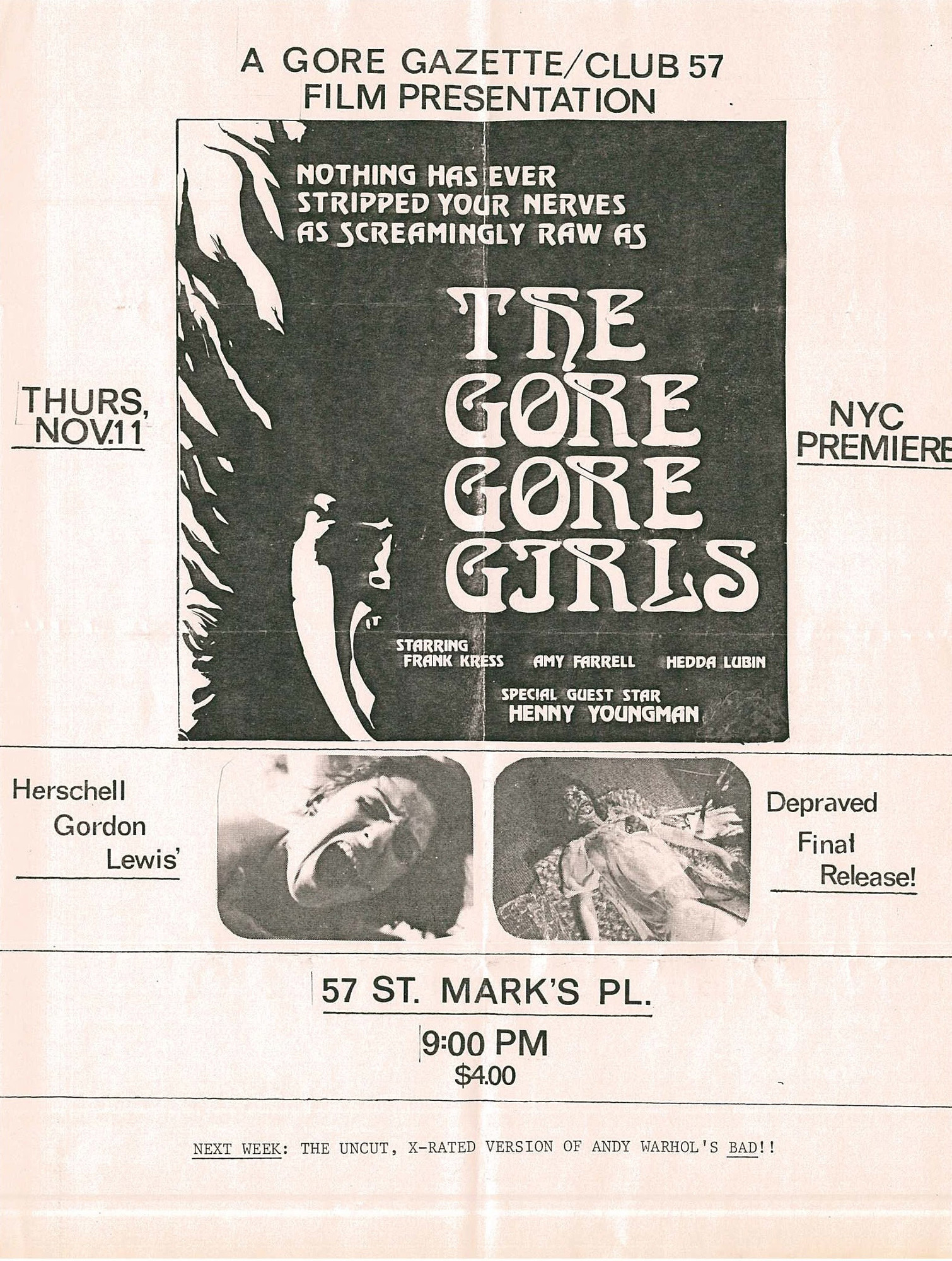 Flyer for a Club 57 screening of The Gore Gore Girls. 1972. USA. Directed by Herschell Gordon Lewis