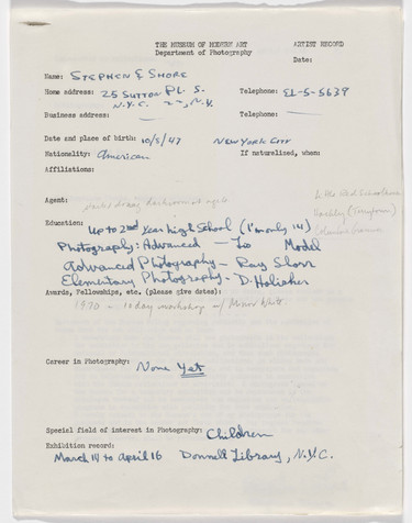 Stephen Shore's artist record, 1962. The Museum of Modern Art Library, New York