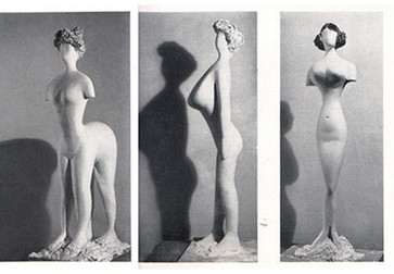 Plaster figures designed by Bernard Rudofsky and modeled by Constantin Nivola, showing a woman's body as it would have appeared had it fitted into the clothes of four fashion periods. In the exhibition Are Clothes Modern?, The Museum of Modern Art, November 28, 1944–March 4, 1945. The Museum of Modern Art Archives, Photographic Archive. Photo: Soichi Sunami