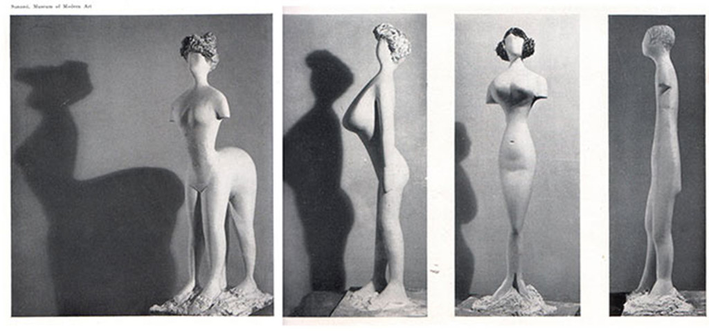 Plaster figures designed by Bernard Rudofsky and modeled by Constantin Nivola, showing a woman's body as it would have appeared had it fitted into the clothes of four fashion periods. In the exhibition *Are Clothes Modern?*, The Museum of Modern Art, November 28, 1944–March 4, 1945. The Museum of Modern Art Archives, Photographic Archive. Photo: Soichi Sunami